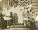 Nurses with American flags at St. Vincent's Hospital in Birmingham, Alabama.